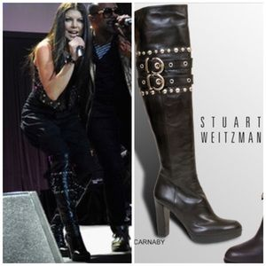 Stuart Weitzman Carnaby Black Leather Boots